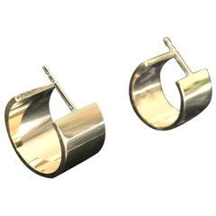 Broad Solid 14 Karat Yellow Gold Creole Earrings
