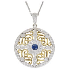 Diamond and Blue Sapphire Medallion Pendant Necklace