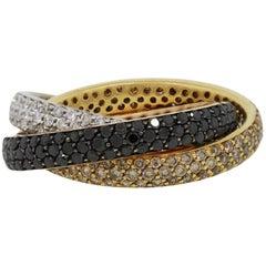 Pave Diamond Three Band Rolling Ring