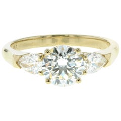 Three Stone Diamond Engagement Ring (Yellow Gold, Certified)