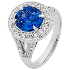 Oval Ceylon Sapphire Diamonds White Gold Ring