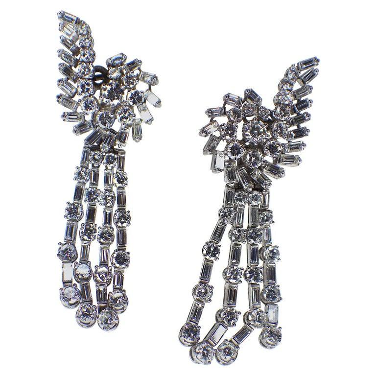 Long Diamond Tassel Earrings, 1960s