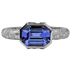 Luca Jouel Purple Sapphire Dress Ring in Platinum