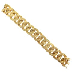 Georges L'Enfant French 18 Karat Yellow Gold Textured Link Bracelet