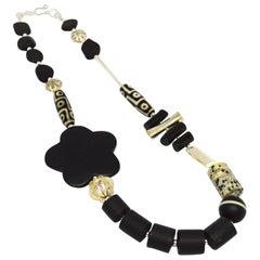 Decadent Jewels Matt Black Onyx Tibetan Agate Dalmation Jasper Silver Necklace