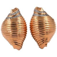 18 Karat Rose Gold Sea Lovers Shell Diamonds Earrings