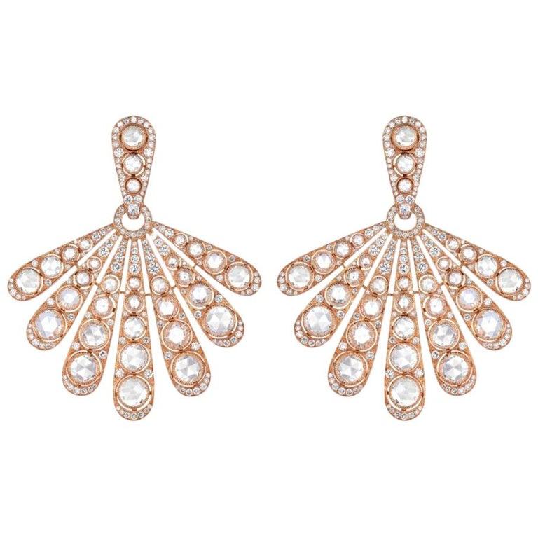Rose Gold Rose Cut Diamond Cocktail Earring
