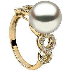 Yoko London Pearl and Diamond Ring Set in 18 Karat Yellow Gold