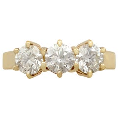 Contemporary 1.53 Carat Diamond Gold Trilogy Ring
