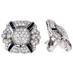 Sapphire and Diamond Dress Earrings