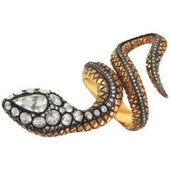 Yellow Gold Snake Rose Cut Diamond Ring