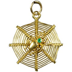 Antique Victorian Spider Web Emerald Pendant 18 Carat Gold, circa 1900