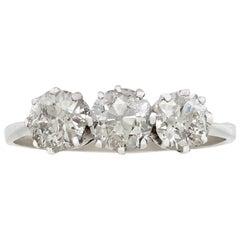 Antique 1920s 1.71ct Diamond and Platinum Trilogy Ring