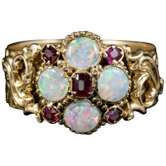 Antique Victorian 18 Carat Gold Ruby Opal Ring Dated Birmingham, 1888