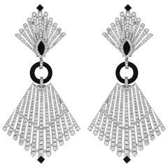 White Gold Art Deco Diamond Onyx Cocktail Earring