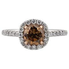 1.67 Carat Fancy Yellow Brown Cushion Cut Diamond Engagement Ring