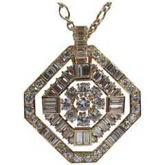 White Diamonds and 18 Karat Yellow Gold Pendant by Marion Jeantet