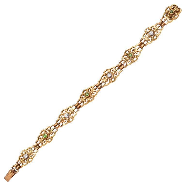 Demantoid and Diamond Antique 18 Karat Bracelet