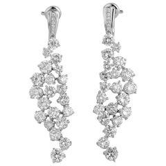 White Gold Brilliant Cut Diamond Statement Earrings, 10.38 Carat