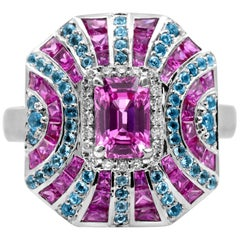 IGL Certified 1.61 Carat Emerald Cut Pink Sapphire Blue Topaz 14K Cocktail Ring