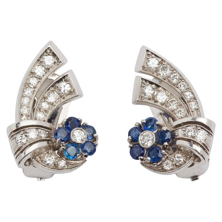 Platinum Sapphire and Diamond Ear Clips
