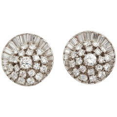10 Carat Platinum Satellite Diamond Ear Clips