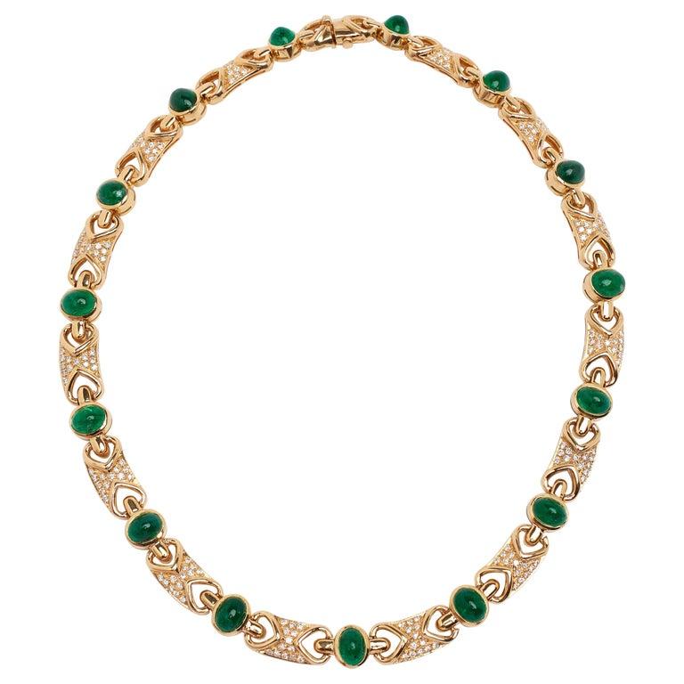 18 Karat Fine Cabochon Emerald and Diamond Necklace