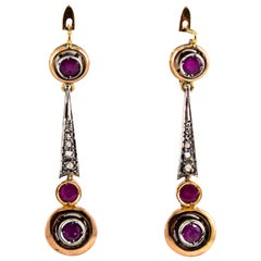 Renaissance Style 1.10 Carat Ruby White Diamond Yellow Gold Lever-Back Earrings