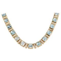 Blue Topaz and Diamond Necklace