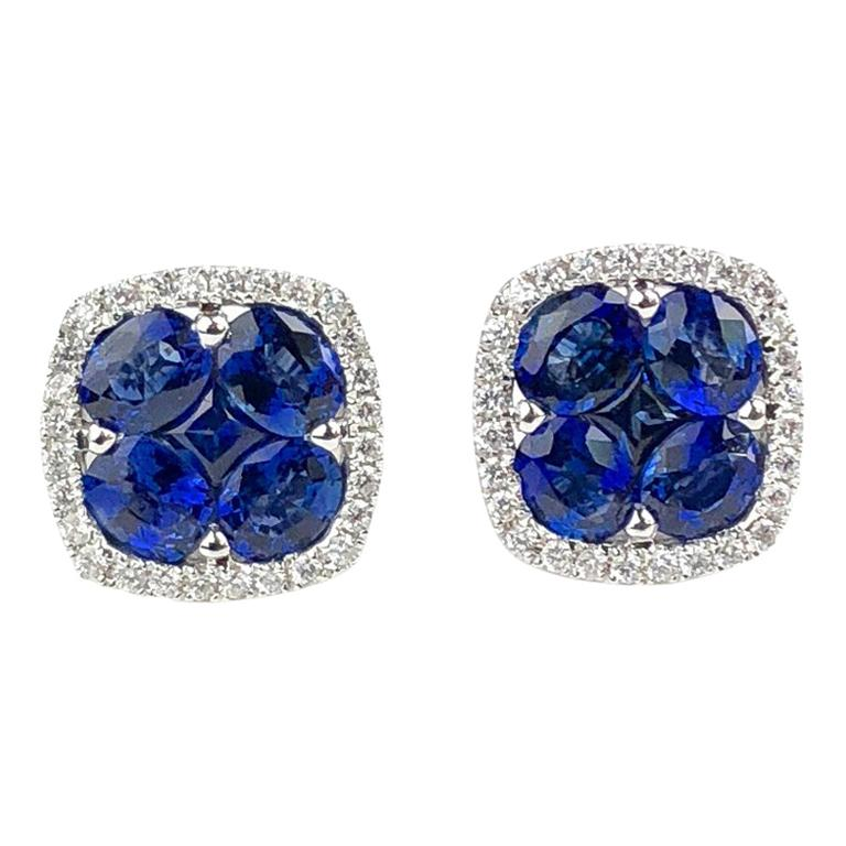 2.65 Carat Sapphire and 0.26 Carat Diamond Stud Earrings in 18 Karat White Gold