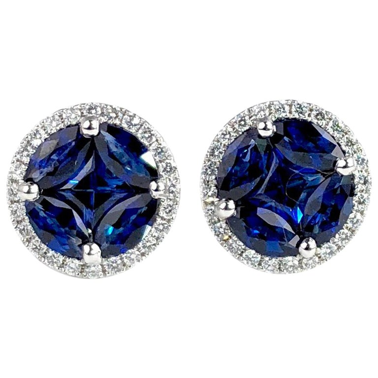 1.72 Carat Sapphire and 0.21 Carat Diamond Stud Earrings in 18 Karat White Gold For Sale