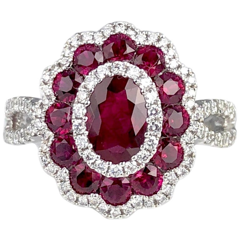 1.72 Carat Ruby and 0.44 Carat Diamond Cocktail Flower Ring in 18 Karat Gold For Sale