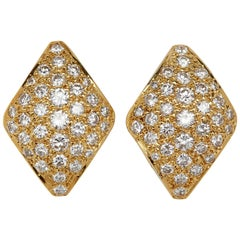 18 Karat Yellow Gold Micro Pave Earrings with 4.50 Carat of White Diamonds