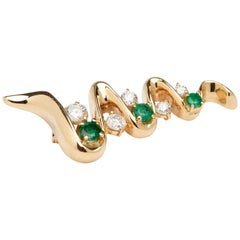 14 Karat Yellow Gold Diamonds and Emeralds Brooch