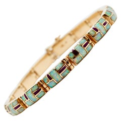 14 Karat Yellow Gold Opal and Enamel Bracelet