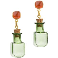 18 Carat Yellow Gold Vermeil, Brass, Red Onyx and Glass Bottle Earrings