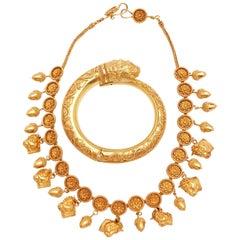 Ilias Lalaounis Bracelet and Necklace 22 Karat Set