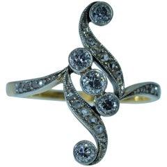 Antique European Rose Cut and Old Mine Cut Diamond Ring