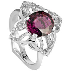 Kata One-of-a-kind Showpiece 3.41 Carat Rubellite Tourmaline and Diamond Ring