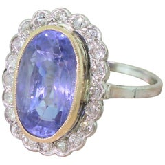 Midcentury 6.96 Carat Natural Ceylon Sapphire and Diamond Cluster Ring