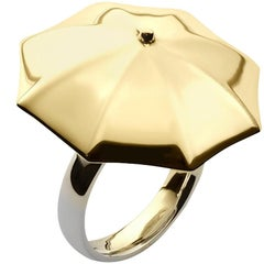 18 Carat Yellow Gold Vermeil and Silver Cocktail Umbrella Ring