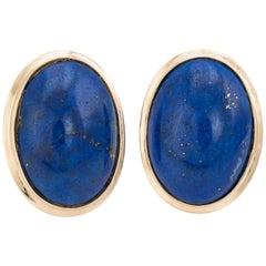 Lapis Lazuli Earrings Vintage 14 Karat Gold Oval Cobalt Blue Estate Jewelry
