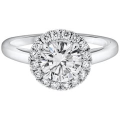 GIA Certified 1.02 Carat Round Brilliant Diamond Halo Engagement Ring