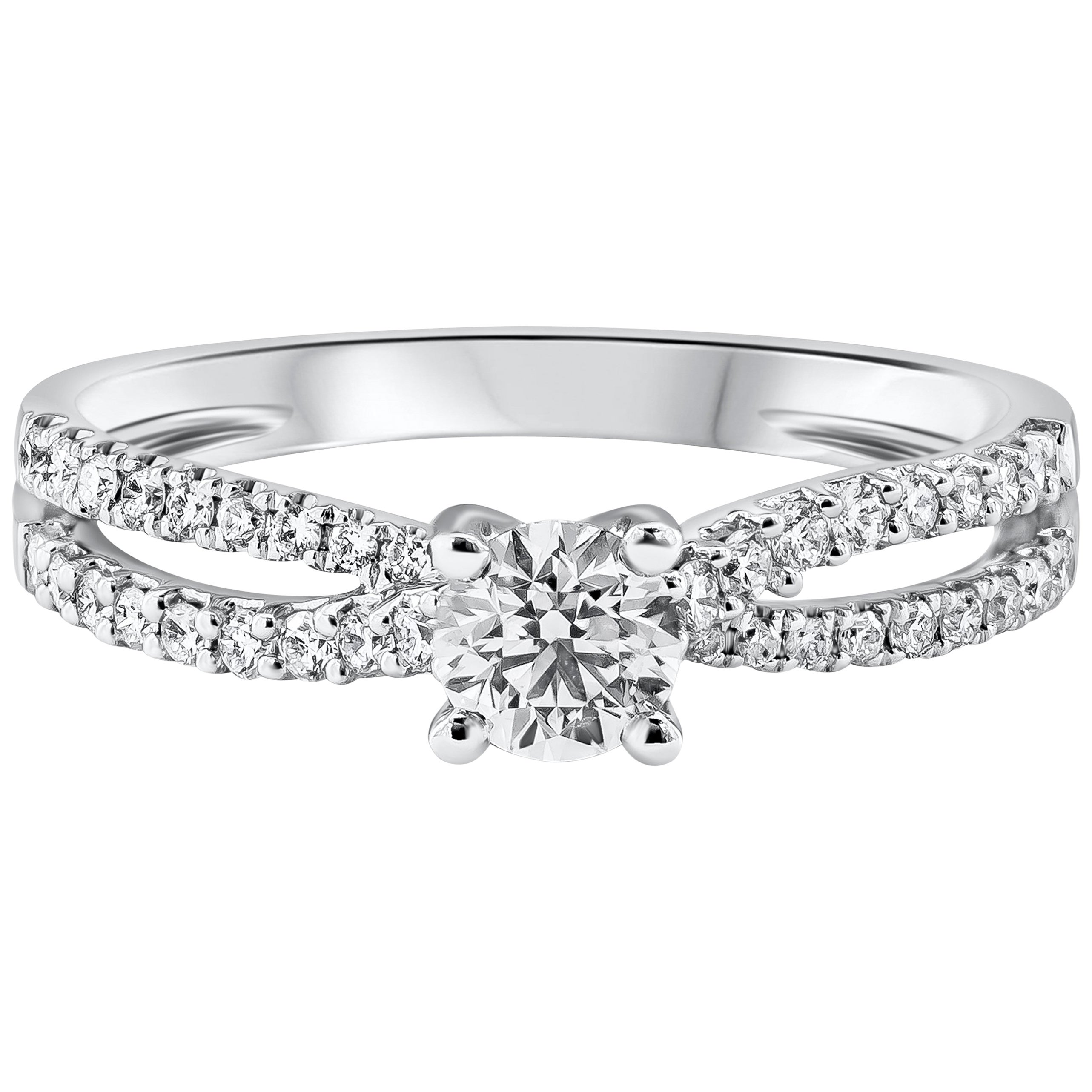 Roman Malakov 0.39 Carat Round Diamond Entwined Shank Engagement Ring