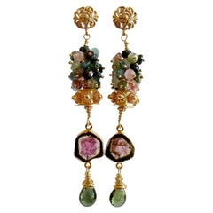Tourmaline Slices Long Tourmaline Cluster Earrings, Tatiana II Earrings