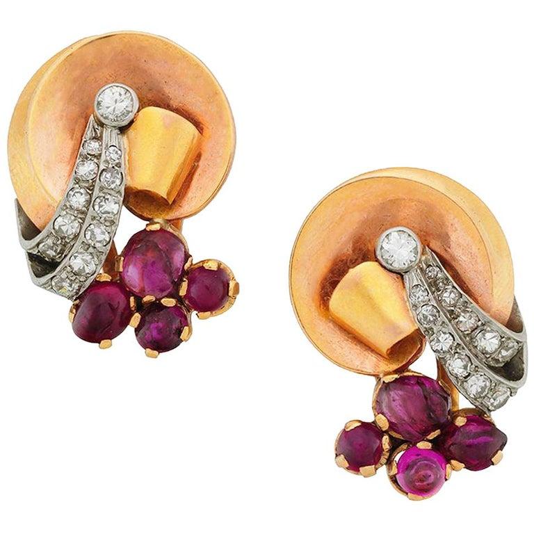 Retro Swirl Earrings with Rubies and Diamonds, 14 Karat Rose and Yellow Gold