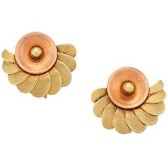 Two-Tone Retro Fan-Style Earrings, 14 Karat Rose and Yellow Gold