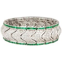 Ella Gafter Emerald and Diamond Cuff Bracelet
