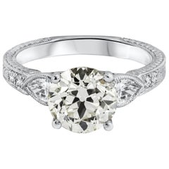 GIA Certified Old European Cut Diamond Three-Stone Engagement Ring