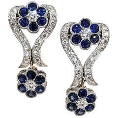 Filigree Diamond and Sapphire Flower Motif Earrings